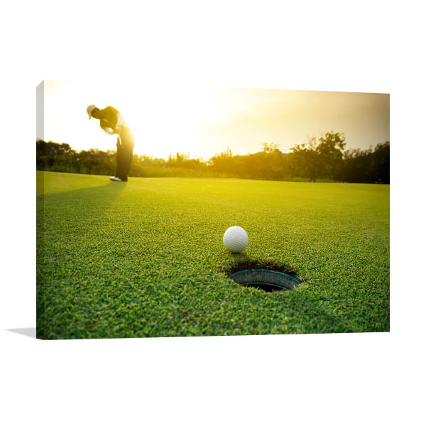 Golf Ball Art Print on Grass Artwork Wall