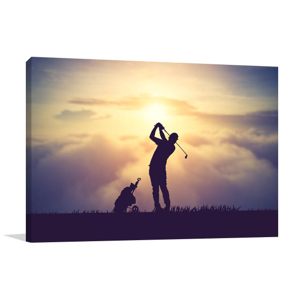 Golfer Art Print Silhouette Wall Photo
