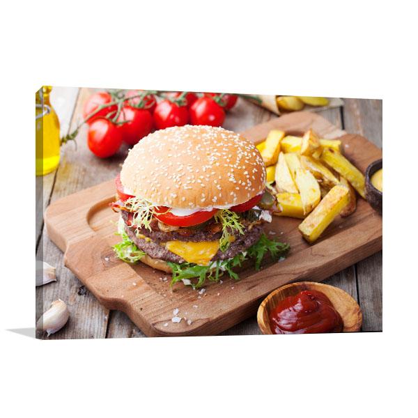Hamburger and Fries Print Artwork