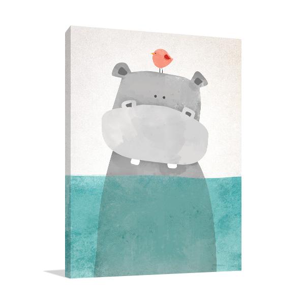 Hippo and Tiny Bird Illustration Print Photo Art