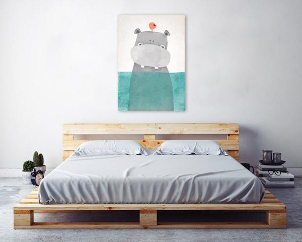Hippo and Tiny Bird Illustration Prints Canvas