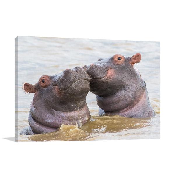 Hippo Couple Wall Artwork