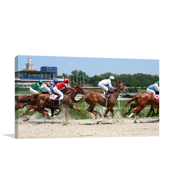Horse Race Art Print Competition Artwork Canvas