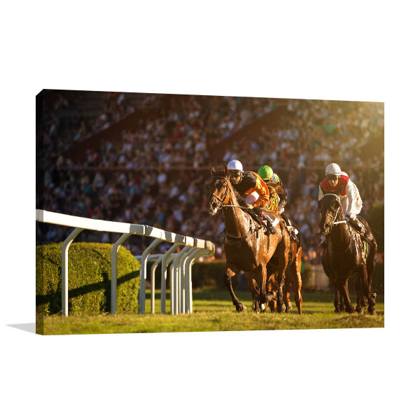 Horse Race Front View Canvas Prints