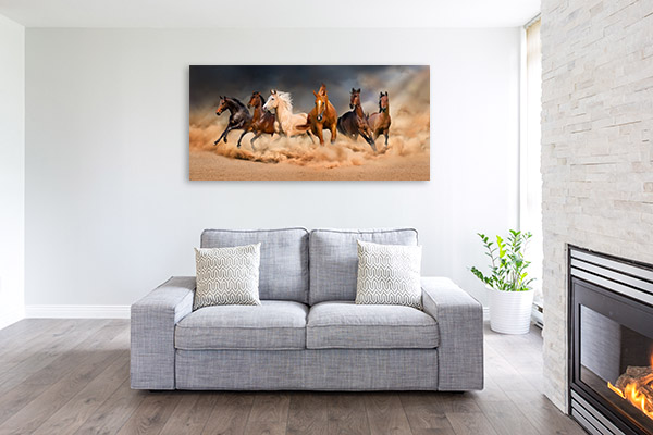 Horses in Sand Storm Picture Canvas