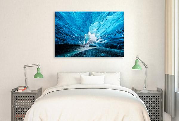 Iceland Art Print Blue Crystal Cave Photo Artwork