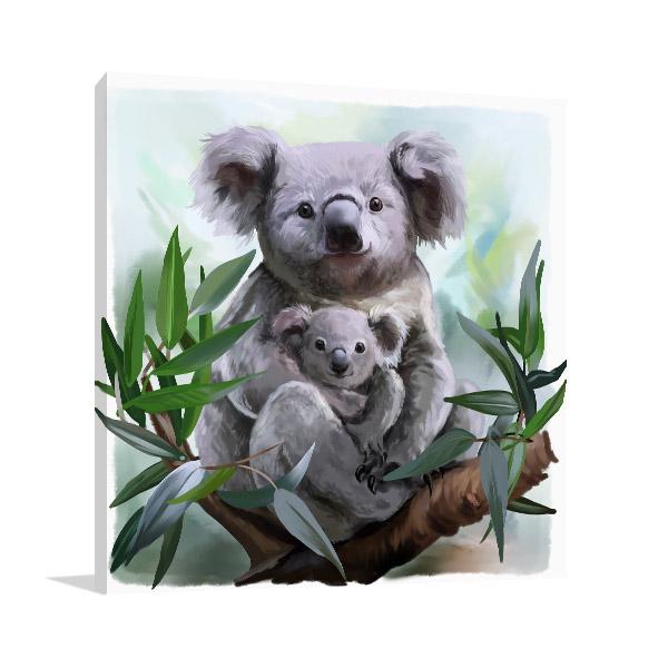 Koala and Baby Watercolour Artwork Photo