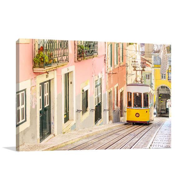 Lisbon Art Print Yellow Tram Artwork Canvas