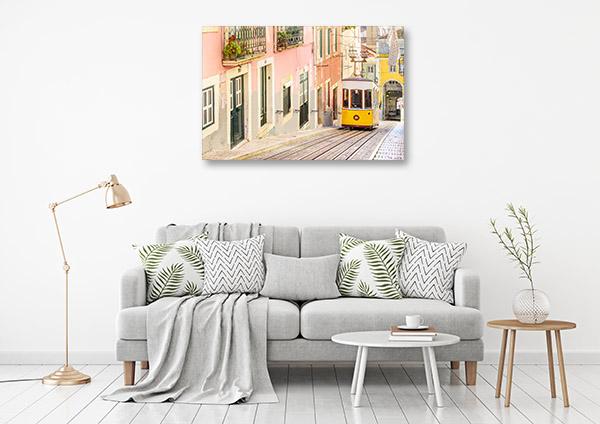 Lisbon Art Print Yellow Tram Wall Artwork