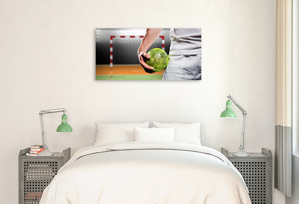 Man Holding Handball Canvas Photo Print