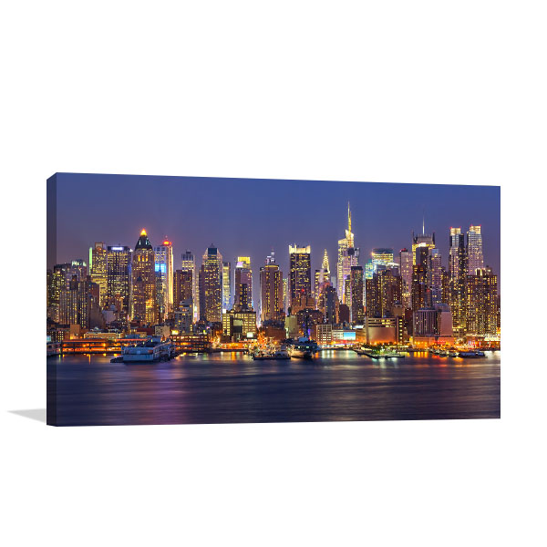 Manhattan Skyline at Night Wall Art Print