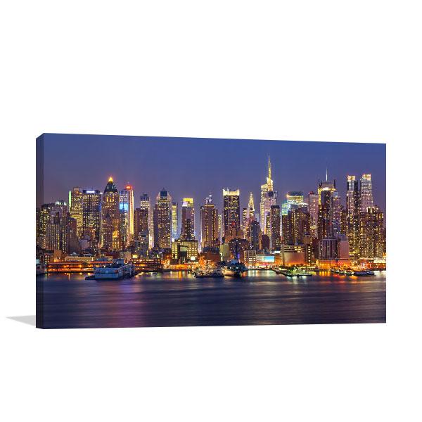Manhattan Skyline at Night Wall Art Print