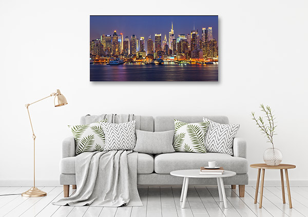 Manhattan Skyline at Night Print Art Canvas