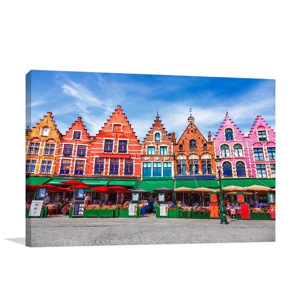 Market Square Art Print Bruges Artwork Picture