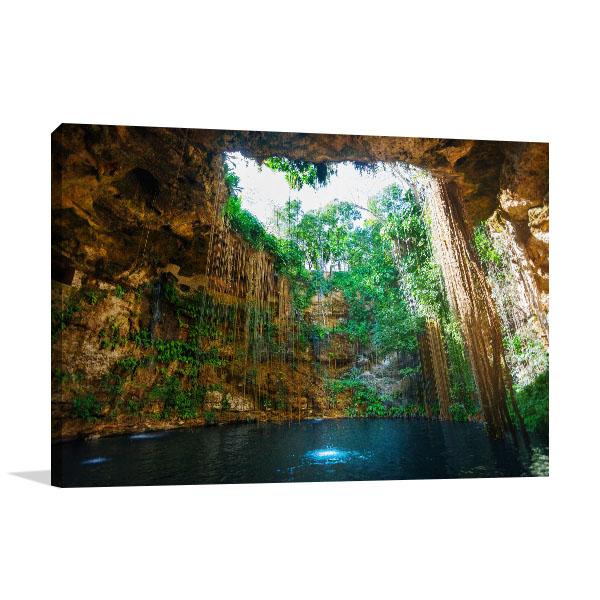 Mexico Canvas Art Print Cenote Picture Artwork