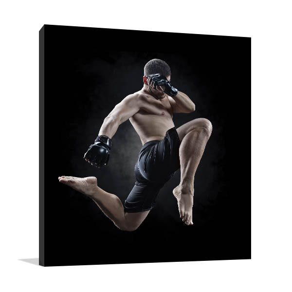 MMA Flying Kick Canvas Art