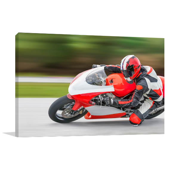 Motorcycle Rider Art Print on Track Wall Photo