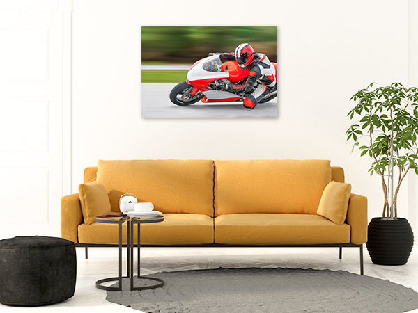 Motorcycle Rider Art Print on Track Wall Artwork