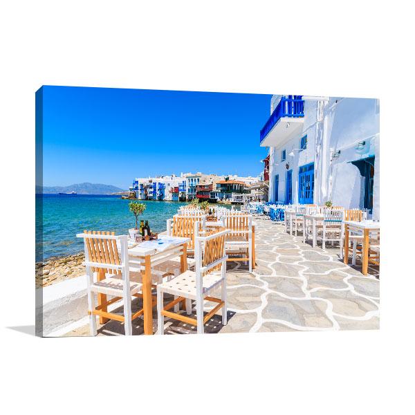 Mykonos Taverna Prints Canvas