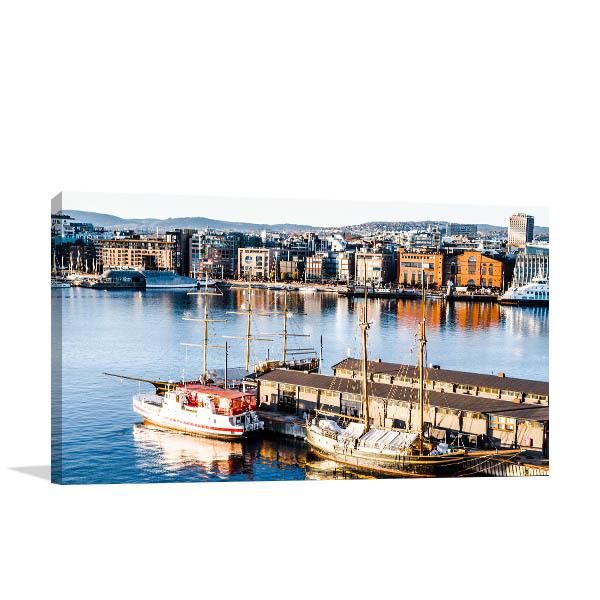 Norway Art Print Oslo Port Artwork Picture