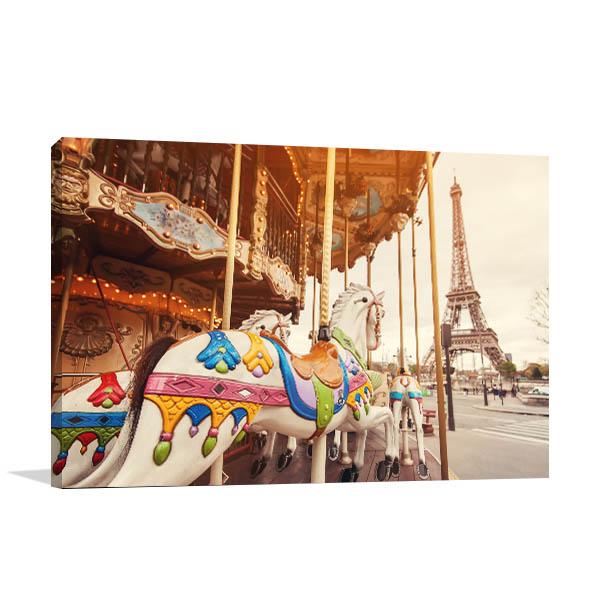 Paris Art Print Carousel and Eiffel Tower Artwork Wall