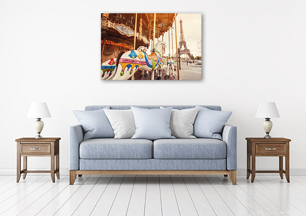 Paris Art Print Carousel and Eiffel Tower Canvas Artwork