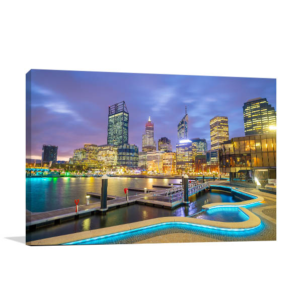 Perth Skyline Art Print Evening Artwork Canvas