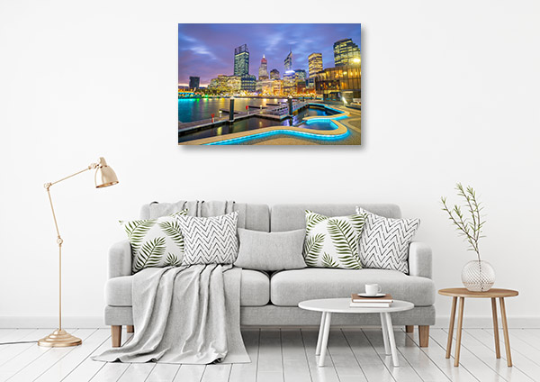 Perth Skyline Art Print Evening Picture Wall