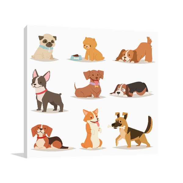 Puppies Illustration Picture Wall