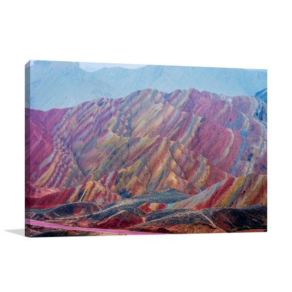Rainbow Mountains China Canvas Art Prints