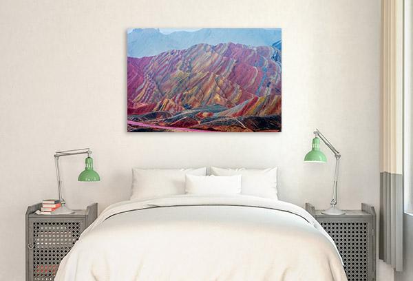 Rainbow Mountains China Canvas Photo Print