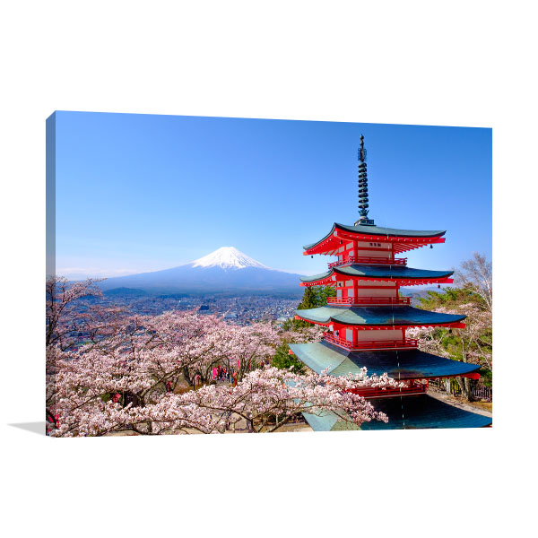Red Pagoda and Mt Fuji Wall Art Print