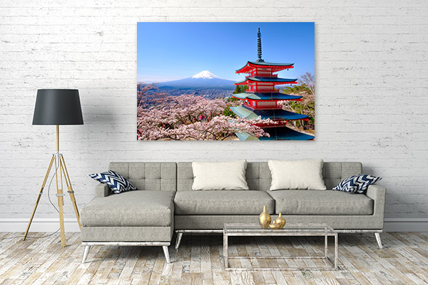 Red Pagoda and Mt Fuji Wall Art