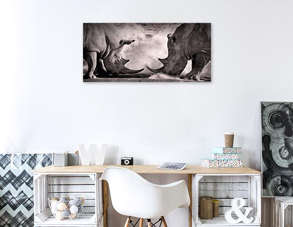 Rhinos in Battle Canvas Art Prints