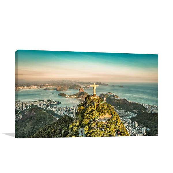 Rio de Janeiro Art Print Sunset Wall Picture