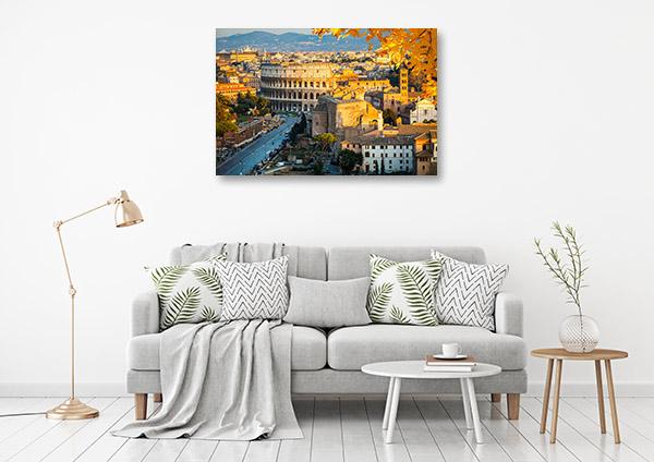 Rome Art Print Colosseum in Autumn Wall Canvas