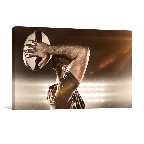 Rugby Player Art Print Throwing Ball Picture Artwork
