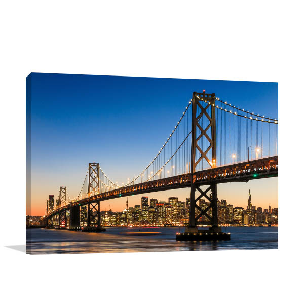 San Francisco Art Print at Dusk Artwork Canvas