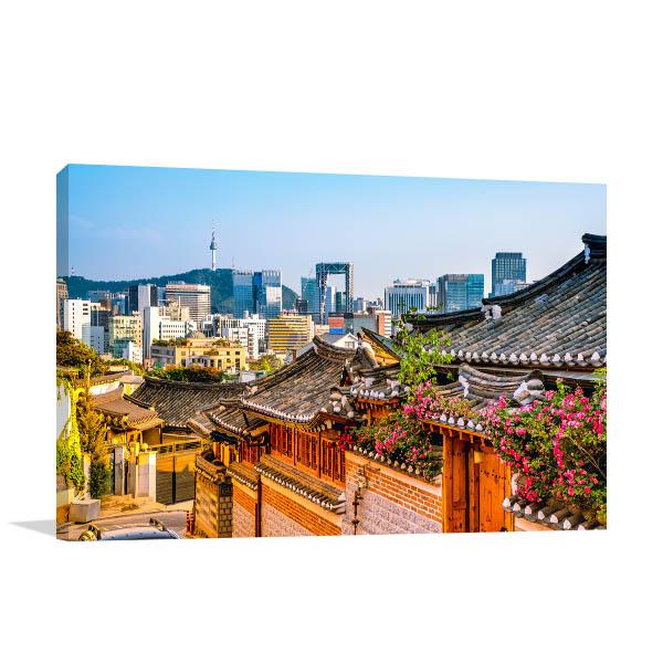 Seoul Skyline Canvas Art