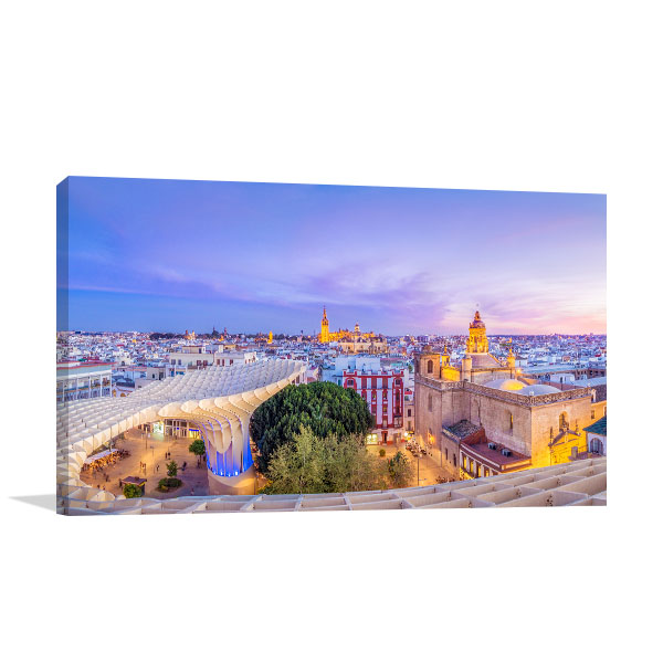 Spain Art Print View of Seville Artwork Picture