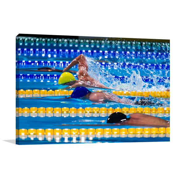 Swimming Competition Canvas Photo Print