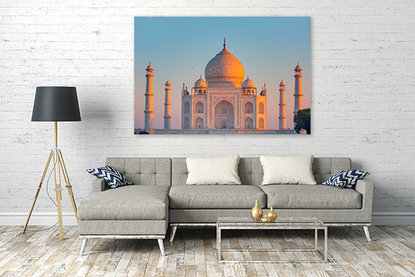 Taj Mahal Art Print at Dusk Artwork Canvas