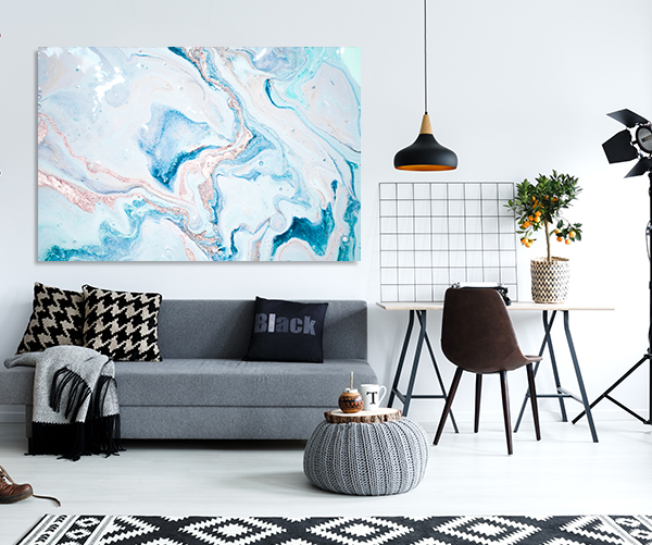 Turquoise and Pink Marble 4 Print Artwork