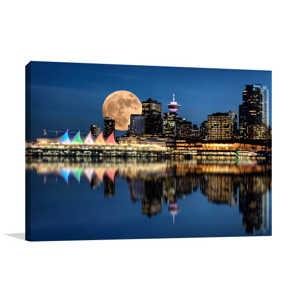 Vancouver Art Print At Full Moon Artwork