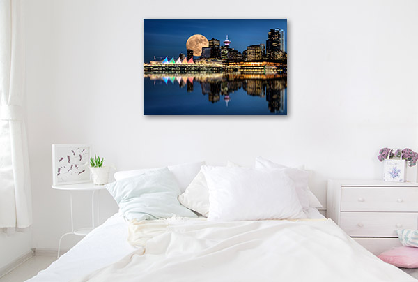 Vancouver Art Print At Full Moon Artwork Canvas