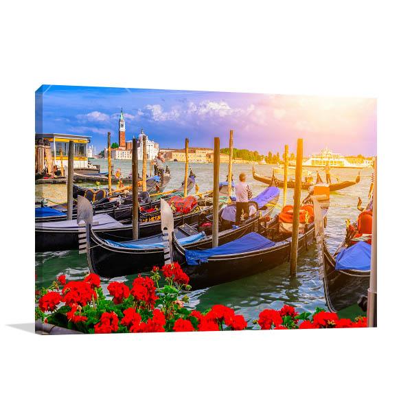 Venice Art Print Gondolas in San Marco Artwork Picture