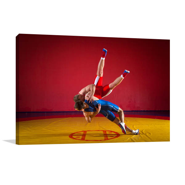 Wrestlers on Mat Wall Artwork
