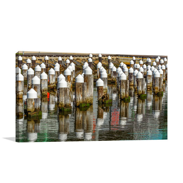 Yarra River Art Print Wooden Pylons Wall Artwork