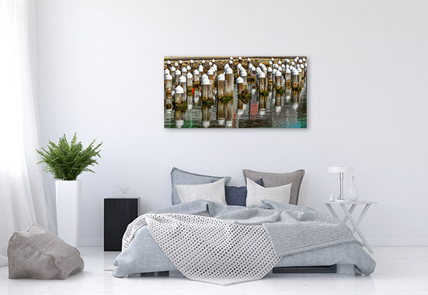 Yarra River Art Print Wooden Pylons Artwork Wall