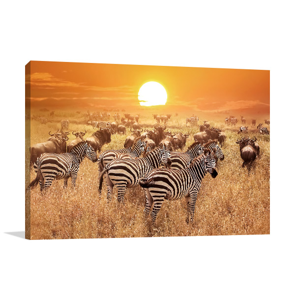 Zebras and African Sunset Art Photo